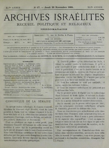Archives israélites de France. Vol.45 N°47 (20 nov. 1884)