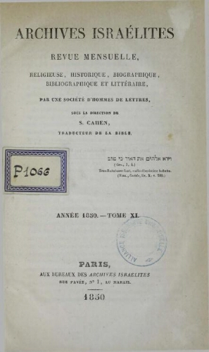 Archives israélites de France. (1850  Vol.11)