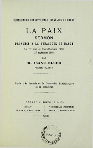 La Paix : sermon prononcé à la synagogue de Nancy