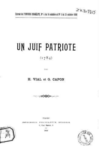 Un Juif patriote [ : Cerf Worms], 1784, par H. Vial et G. Capon
