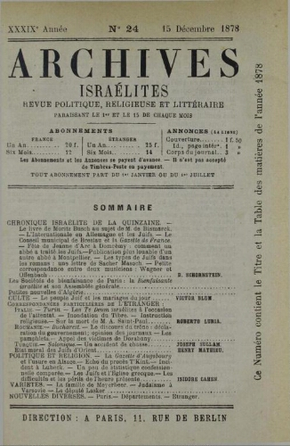 Archives israélites de France. Vol.39 N°24 (15 déc. 1878)