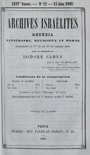 Archives israélites de France. Vol.24 N°12 (15 juin 1863)