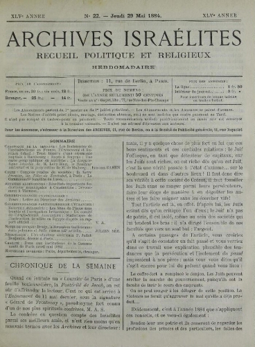 Archives israélites de France. Vol.45 N°22 (29 mai 1884)