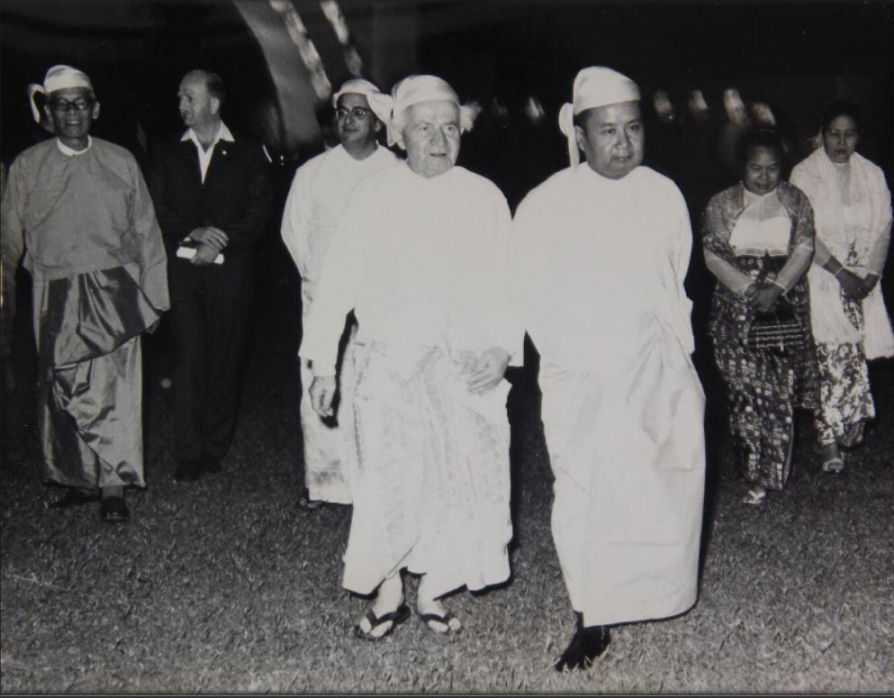 Yitzhak Navon avec le premier ministre birman U Nu et Ben Gurion.